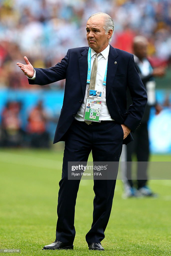 Head coach <a gi-track='captionPersonalityLinkClicked' href=/galleries/search?phrase=Alejandro+Sabella&family=editorial&specificpeople=5768060 ng-click='$event.stopPropagation()'>Alejandro Sabella</a> of Argentina gestures during the 2014 FIFA World Cup Brazil Group F match between Nigeria and Argentina at Estadio Beira-Rio on June 25, 2014 in Porto Alegre, Brazil.