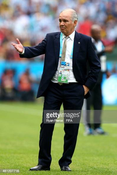 Head coach Alejandro Sabella of Argentina gestures during the 2014 FIFA World Cup Brazil Group F match between Nigeria and Argentina at Estadio...