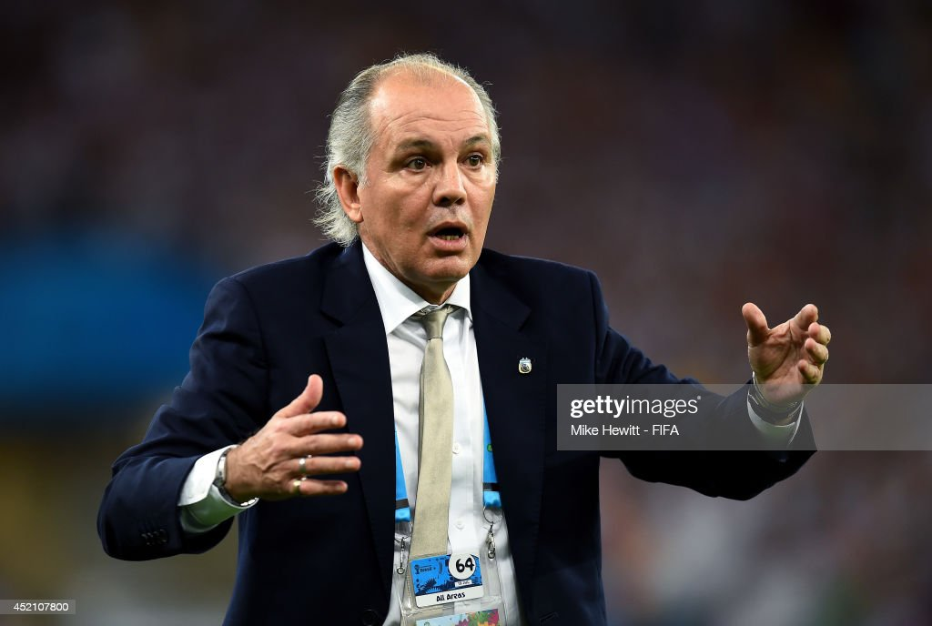 Head coach <a gi-track='captionPersonalityLinkClicked' href=/galleries/search?phrase=Alejandro+Sabella&family=editorial&specificpeople=5768060 ng-click='$event.stopPropagation()'>Alejandro Sabella</a> of Argentina gestures during the 2014 FIFA World Cup Brazil Final match between Germany and Argentina at Maracana on July 13, 2014 in Rio de Janeiro, Brazil.