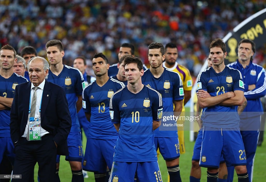 Head coach <a gi-track='captionPersonalityLinkClicked' href=/galleries/search?phrase=Alejandro+Sabella&family=editorial&specificpeople=5768060 ng-click='$event.stopPropagation()'>Alejandro Sabella</a> of Argentina looks on with his team after being defeated by Germany 1-0 during the 2014 FIFA World Cup Brazil Final match between Germany and Argentina at Maracana on July 13, 2014 in Rio de Janeiro, Brazil.