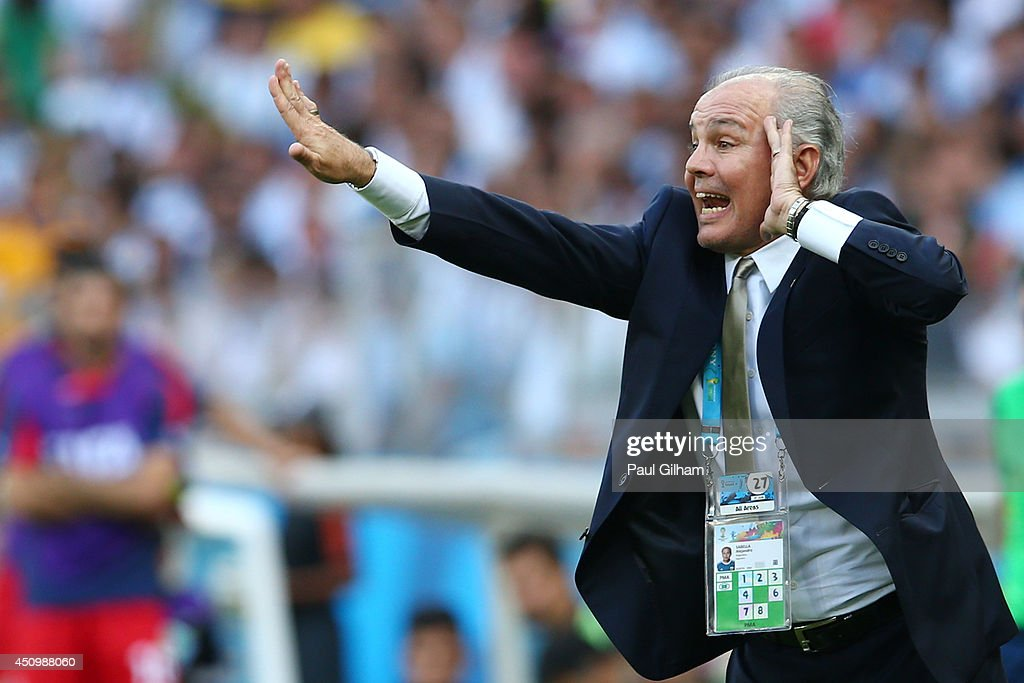 Head coach <a gi-track='captionPersonalityLinkClicked' href=/galleries/search?phrase=Alejandro+Sabella&family=editorial&specificpeople=5768060 ng-click='$event.stopPropagation()'>Alejandro Sabella</a> of Argentina reacts during the 2014 FIFA World Cup Brazil Group F match between Argentina and Iran at Estadio Mineirao on June 21, 2014 in Belo Horizonte, Brazil.