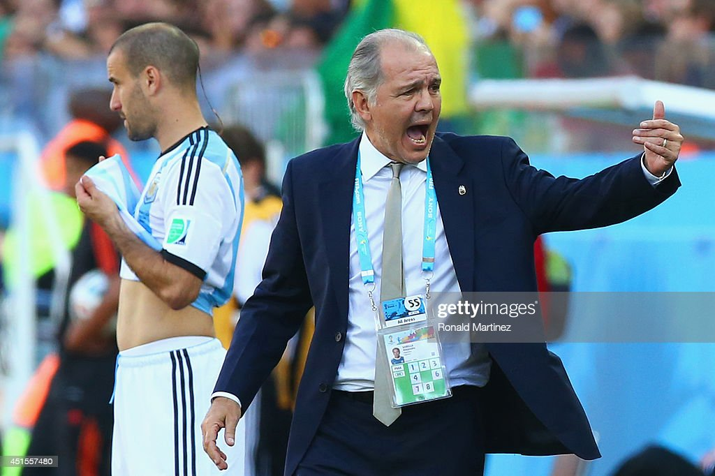 Head coach <a gi-track='captionPersonalityLinkClicked' href=/galleries/search?phrase=Alejandro+Sabella&family=editorial&specificpeople=5768060 ng-click='$event.stopPropagation()'>Alejandro Sabella</a> of Argentina reacts during the 2014 FIFA World Cup Brazil Round of 16 match between Argentina and Switzerland at Arena de Sao Paulo on July 1, 2014 in Sao Paulo, Brazil.