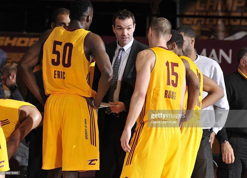 Head coach Alex Jensen of the Canton Charge addresses the team during a break in the action against the Springfield Armor at the Canton Memorial Civic Center on November 24, 2012 in Canton, Ohio.