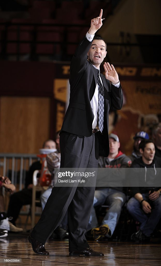 Head coach Alex Jensen of the Canton Charge calls out the play during the game against the Erie BayHawks at the Canton Memorial Civic Center on January 30, 2013 in Canton, Ohio.