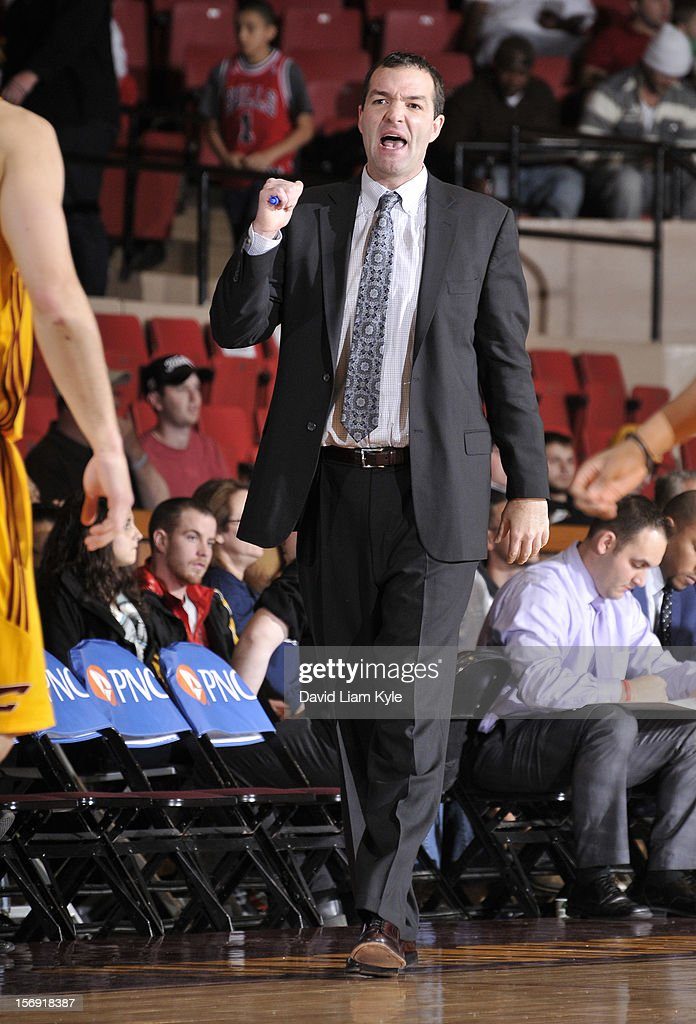 Head coach Alex Jensen of the Canton Charge calls out to his players in the game against the Springfield Armor at the Canton Memorial Civic Center on November 24, 2012 in Canton, Ohio.
