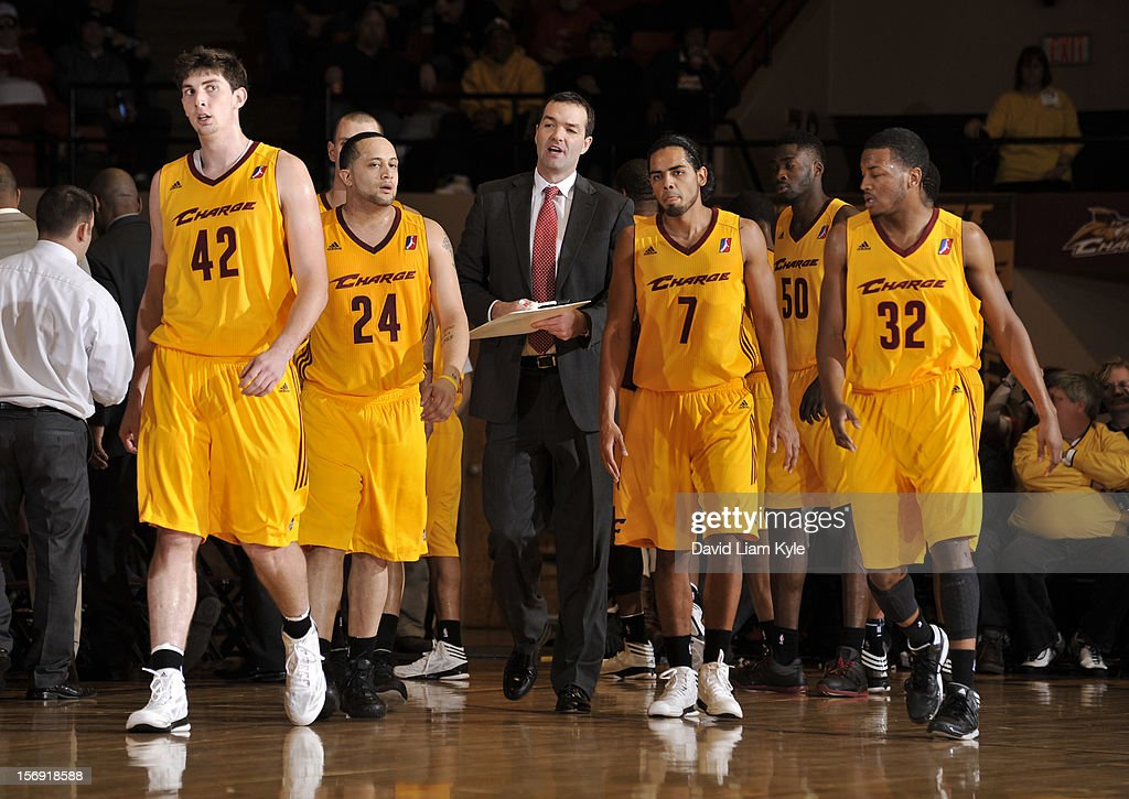 Head coach Alex Jensen of the Canton Charge talks to his players as they head back onto the court in the game against the Maine Red Claws at the Canton Memorial Civic Center on November 23, 2012 in Canton, Ohio.