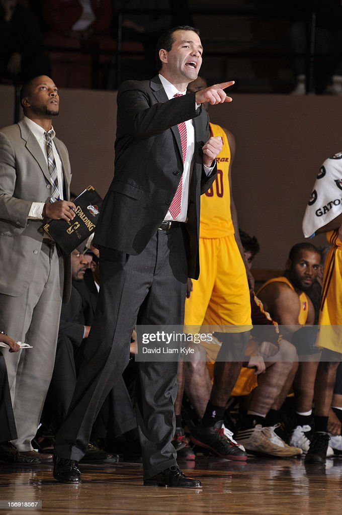 Head coach Alex Jensen of the Canton Charge yells out the play in the game against the Maine Red Claws at the Canton Memorial Civic Center on November 23, 2012 in Canton, Ohio.