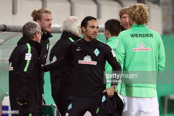 Head coach Alexander Nouri of Bremen celebrates after the DFB Cup first round match between Wuerzburger Kickers and SV Werder Bremen at...