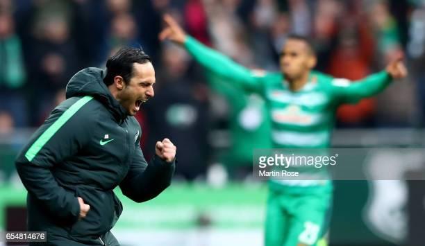 Head coach Alexander Nouri of Bremen celebrates after the third goal during the Bundesliga match between Werder Bremen and RB Leipzig at Weserstadion...