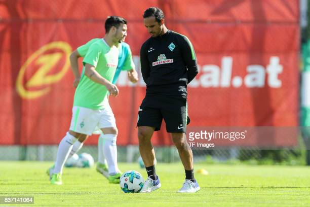 Head coach Alexander Nouri of Bremen controls the ball during the preseason friendly between Werder Bremen and Wolverhampton Wanderers at Parkstadion...