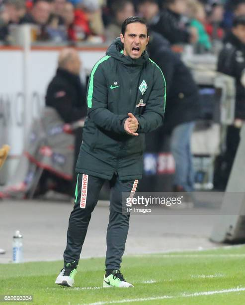 Head coach Alexander Nouri of Bremen gestures during the Bundesliga soccer match between Bayer Leverkusen and Werder Bremen at the BayArena stadium...