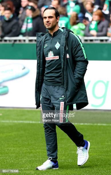 HEad coach Alexander Nouri of Bremen is seen during the Bundesliga match between Werder Bremen and RB Leipzig at Weserstadion on March 18 2017 in...