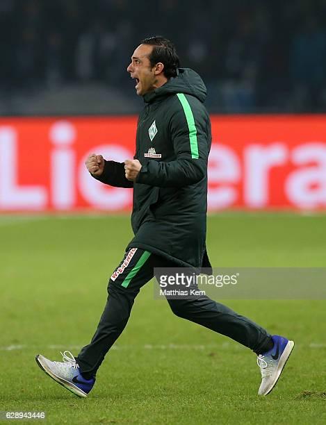 Head coach Alexander Nouri of Bremen jubilates after winning the Bundesliga match between Hertha BSC and SV Werder Bremen at Olympiastadion on...