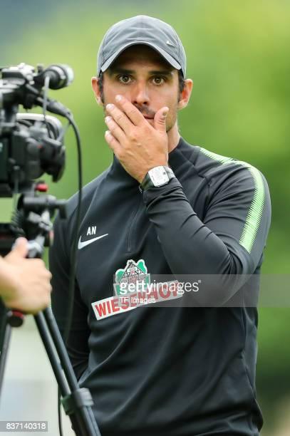 Head coach Alexander Nouri of Bremen looks on during the preseason friendly between Werder Bremen and Wolverhampton Wanderers at Parkstadion Zell Am...