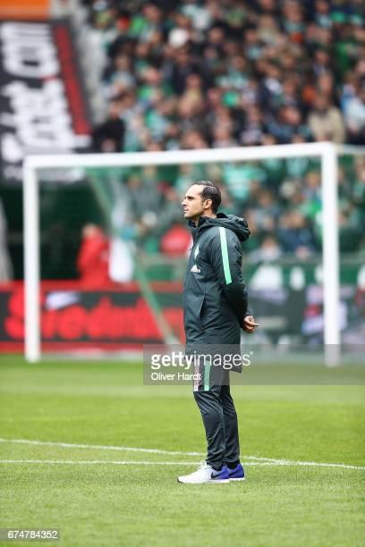Head coach Alexander Nouri of Bremen looks on prior to the Bundesliga match between Werder Bremen and Hertha BSC at Weserstadion on April 29 2017 in...
