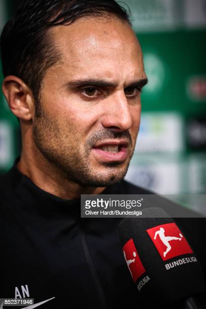 Head coach Alexander Nouri of Bremen speaks to the media in the Flash Zone after Bundesliga match between SV Werder Bremen and SportClub Freiburg at...