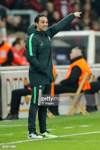 Head coach Alexander Nouri of Werder Bremen gestures during the Bundesliga soccer match between Bayer Leverkusen and Werder Bremen at the BayArena...