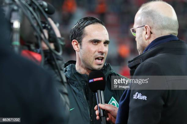 Head coach Alexander Nouri of Werder Bremen givs an interview during the Bundesliga soccer match between Bayer Leverkusen and Werder Bremen at the...