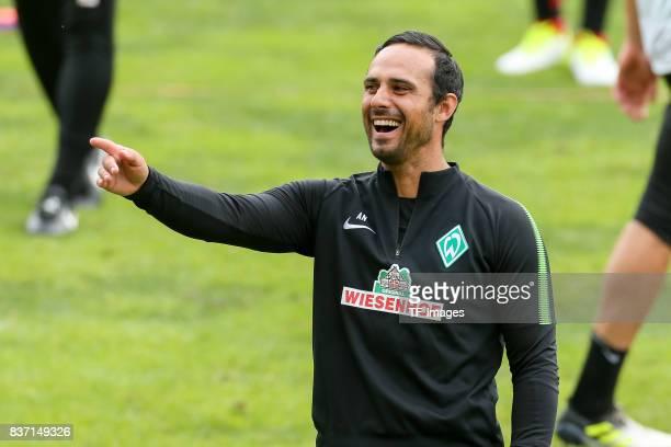 Head coach Alexander Nouri of Werder Bremen laughs during the Training Camp of SV Werder Bremen on July 13 2017 in Zell am Ziller Austria
