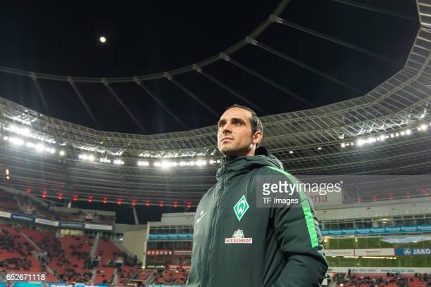 Head coach Alexander Nouri of Werder Bremen looks on during the Bundesliga soccer match between Bayer Leverkusen and Werder Bremen at the BayArena...