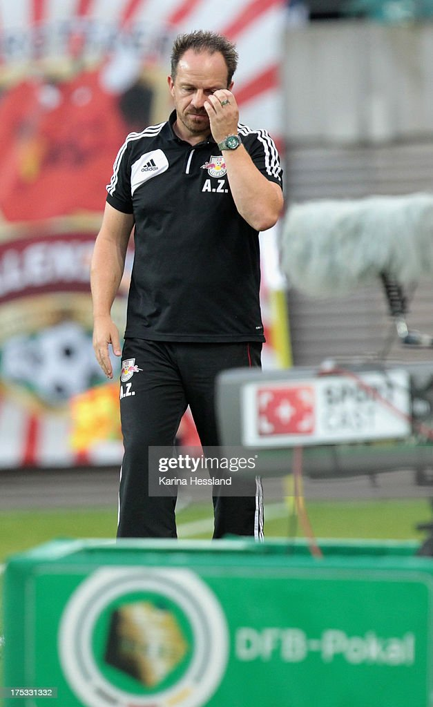Head coach Alexander Zorniger of Leipzig looks disappointed during the DFB-Cup between RB Leipzig and FC Augsburg at Zentralstadion on August 02, 2013 in Leipzig, Germany.