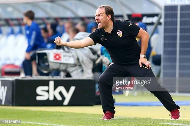 Head coach Alexander Zorniger of Stuttgart reacts during the Bundesliga match between 1899 Hoffenheim and VfB Stuttgart at Wirsol RheinNeckarArena on...