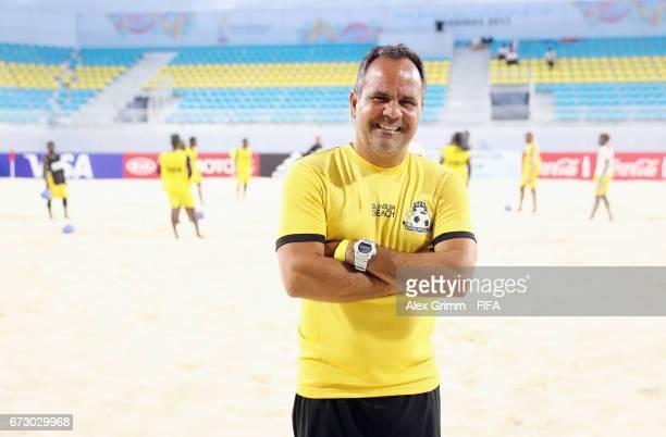 Head coach Alexandre Soares of Bahamas poses during a Bahamas training session before the FIFA Beach Soccer World Cup Bahamas 2017 at National Beach...