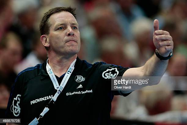 Head coach Alfred Gislason of Kiel gesticulated during the DKB HBL Bundesliga match between THW Kiel and Fuechse Berlin on May 24 2014 in Kiel Germany