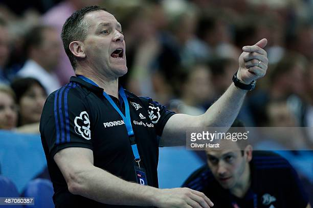 Head coach Alfred Gislason of Kiel gesticulated during the Velux EHF Champions League quarter final handball match between THW Kiel and MKD HC...