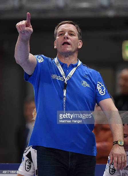 Head coach Alfred Gislason of Kiel gestures during the DKB HBL Bundesliga match between Rhein Neckar Loewen and THW Kiel at SAP Arena on October 7...
