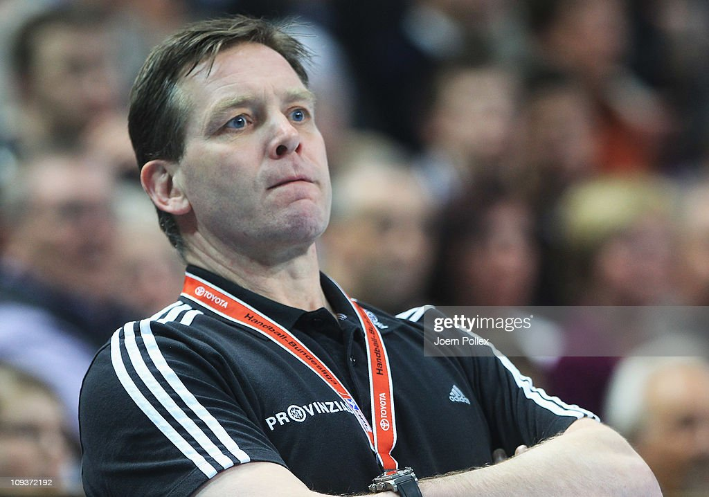 Head coach Alfred Gislason of Kiel is seen during the Toyota Handball Bundesliga match between THW Kiel and MT Melsungen at the Sparkassen Arena on February 23, 2011 in Kiel, Germany.