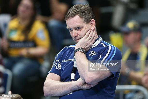 Head Coach Alfred Gislason of Kiel reacts during the DHB cup quarter final match between RheinNeckar Loewen and THW Kiel at SAP Arena on March 4 2015...