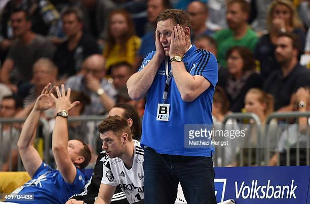 Head coach Alfred Gislason of Kiel reacts during the DKB HBL Bundesliga match between Rhein Neckar Loewen and THW Kiel at SAP Arena on October 7 2015...