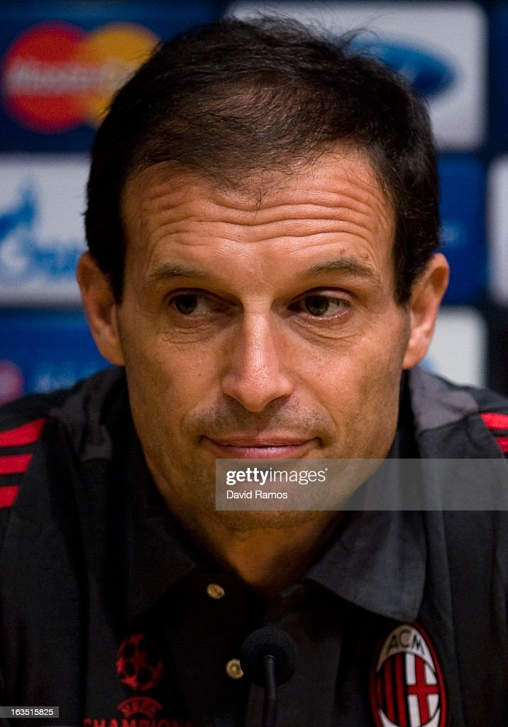 Head coach Allegri Massimiliano of AC Milan faces the media during a press conference ahead of their UEFA Champions League round of 16 second leg against FC Barcelona at the Camp Nou Stadium on March 11, 2013 in Barcelona, Spain.Ê