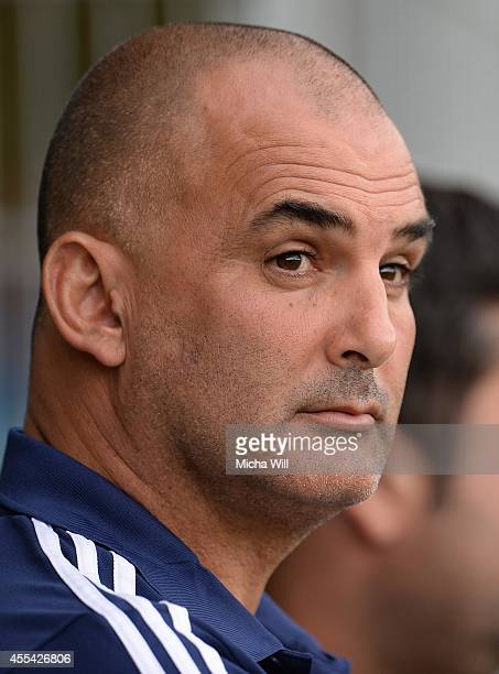 Head coach Alon Hazan of Israel looks on prior to the KOMM MIT tournament match between U17 Germany and U17 Israel on September 14 2014 in Rain am...