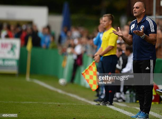 Head coach Alon Hazan of Israel reacts during the KOMM MIT tournament match between U17 Germany and U17 Israel on September 14 2014 in Rain am Lech...