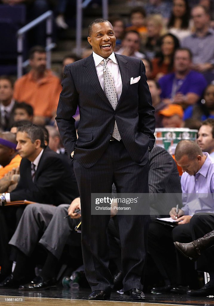 Head coach <a gi-track='captionPersonalityLinkClicked' href=/galleries/search?phrase=Alvin+Gentry&family=editorial&specificpeople=650057 ng-click='$event.stopPropagation()'>Alvin Gentry</a> of the Phoenix Suns reacts during the NBA game against the Portland Trail Blazers at US Airways Center on November 21, 2012 in Phoenix, Arizona. The Suns defeated the Trail Blazers 114-87.