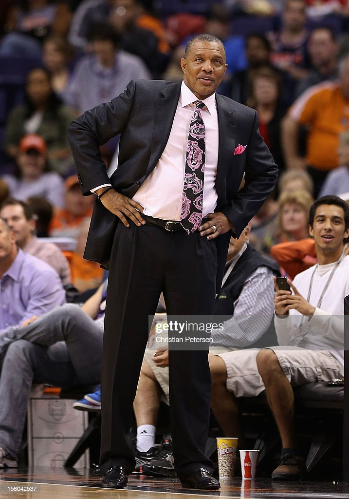 Head coach Alvin Gentry of the Phoenix Suns reacts during the NBA game against the Orlando Magic at US Airways Center on December 9, 2012 in Phoenix, Arizona. The Magic defeated the Suns 98-90.