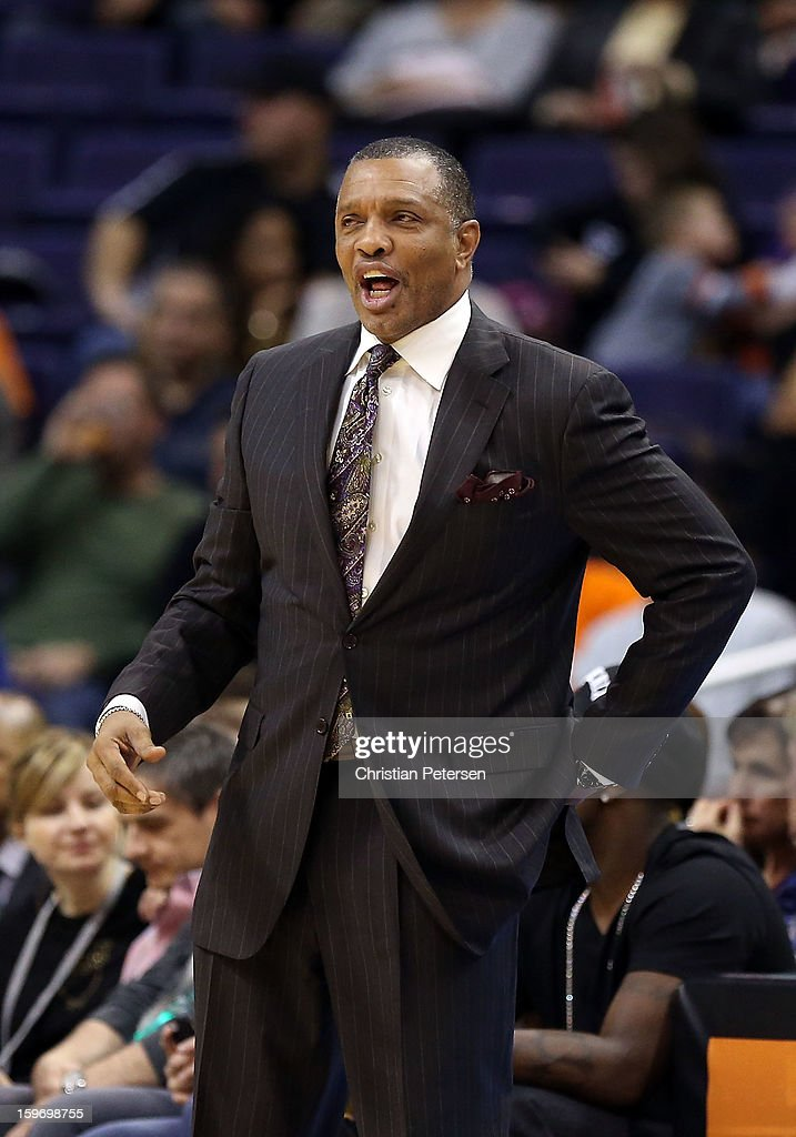 Head coach Alvin Gentry of the Phoenix Suns reacts during the NBA game against the Milwaukee Bucks at US Airways Center on January 17, 2013 in Phoenix, Arizona.