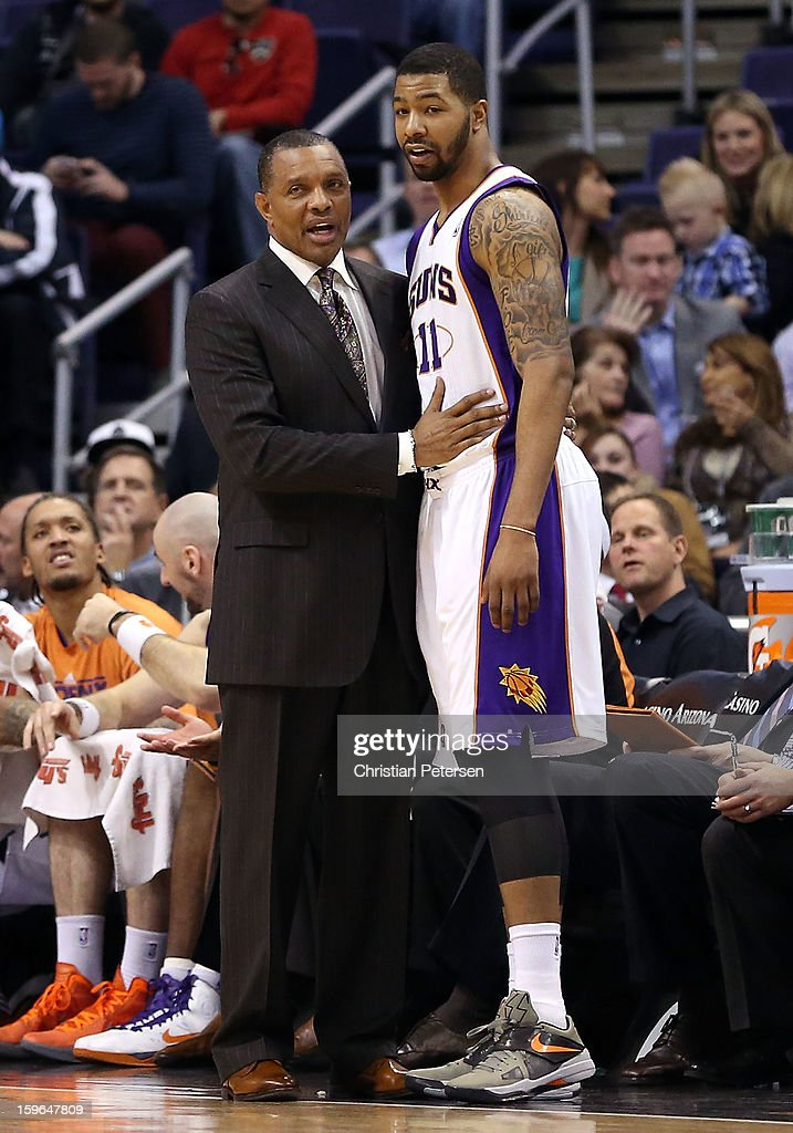 Head coach Alvin Gentry of the Phoenix Suns talks with Markieff Morris #11 during the NBA game against the Milwaukee Bucks at US Airways Center on January 17, 2013 in Phoenix, Arizona.