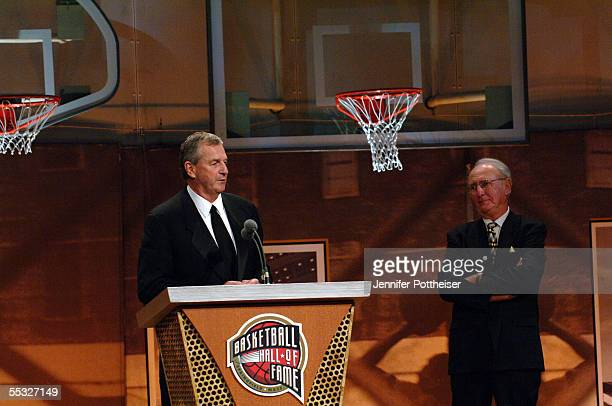 UCONN head coach and Basketball Hall of Fame inductee Jim Callhoun speaks along side basketball great Bob Cousy at the Naismith Memorial Basketball...