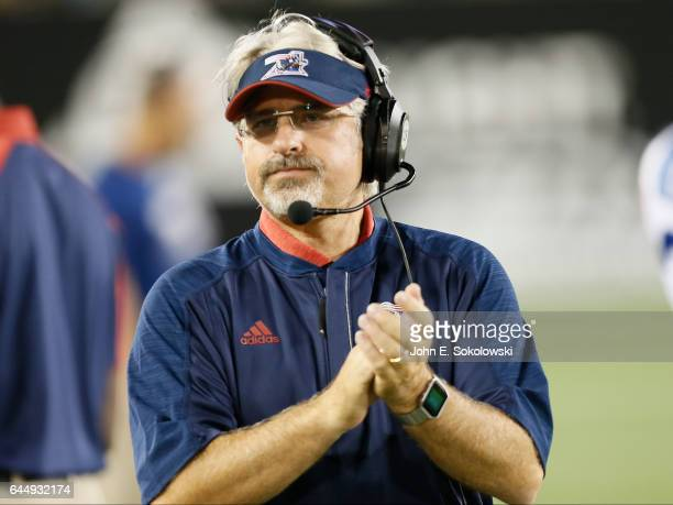 Head Coach and General Manager Jim Popp of the Montreal Alouettes on the sidelines during a CFL game against the Hamilton TigerCats at Tim Hortons...