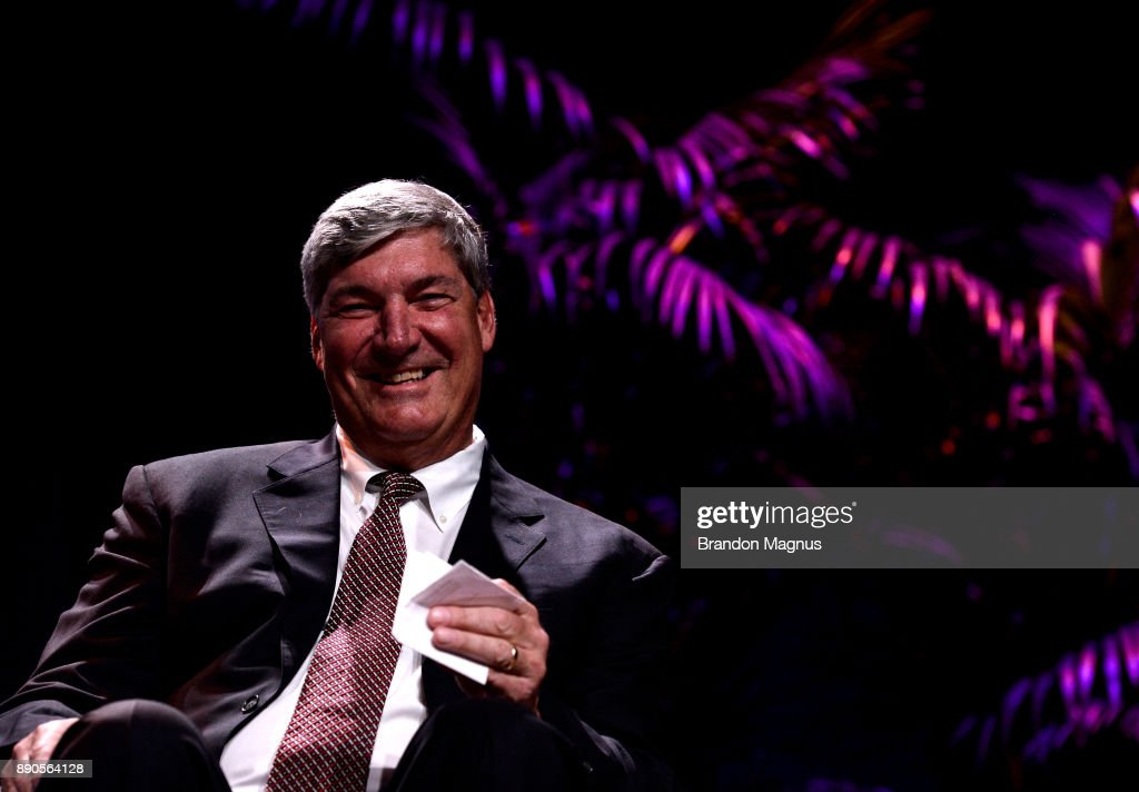Head coach Bill Laimbeer smiles during a news conference as the WNBA and MGM Resorts International announce the Las Vegas Aces as the name of their franchise at the House of Blues Las Vegas inside Mandalay Bay Resort and Casino on December 11, 2017 in Las Vegas, Nevada. In October, the league announced that the San Antonio Stars would relocate to Las Vegas and begin play in the 2018 season at the Mandalay Bay Events Center.