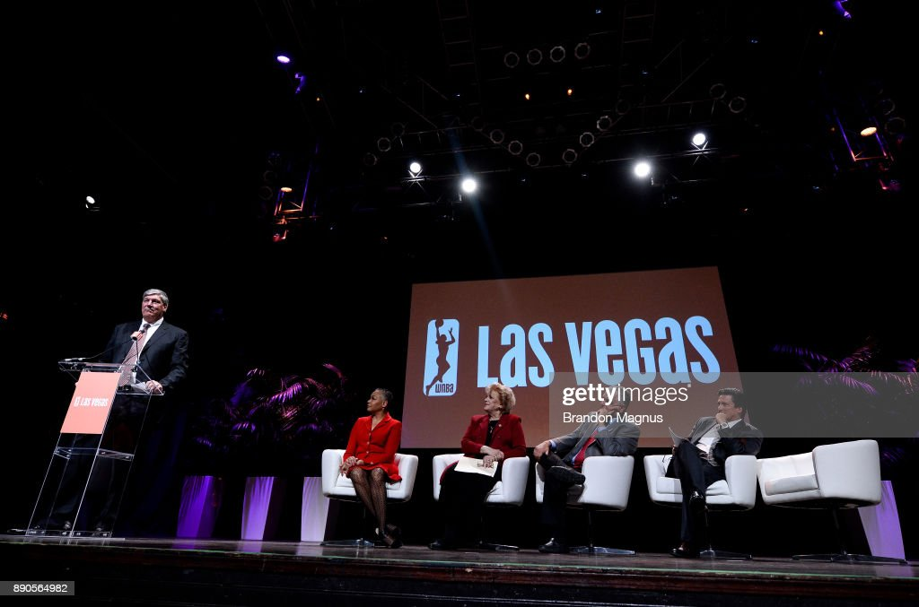 Head coach Bill Laimbeer speaks during a news conference as the WNBA and MGM Resorts International announce the Las Vegas Aces as the name of their franchise at the House of Blues Las Vegas inside Mandalay Bay Resort and Casino on December 11, 2017 in Las Vegas, Nevada. In October, the league announced that the San Antonio Stars would relocate to Las Vegas and begin play in the 2018 season at the Mandalay Bay Events Center.