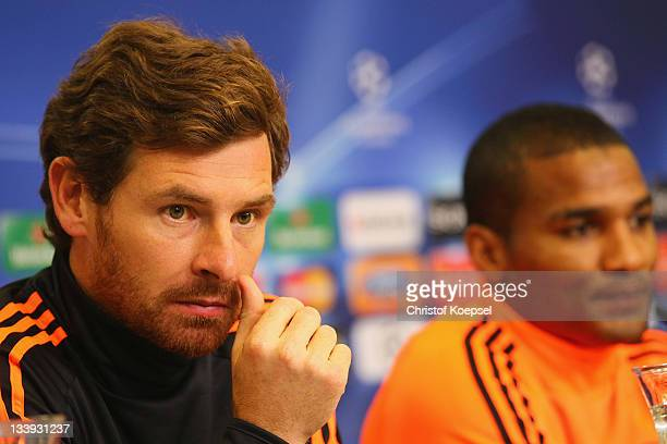 Head coach André VillasBoas and Florent Malouda attend the Chelsea FC press conference at BayArena on November 22 2011 in Leverkusen Germany