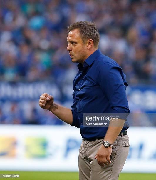 Head coach Andre Breitenreiter celebrates the victory during the Bundesliga match between FC Schalke 04 and 1 FSV Mainz 05 at VeltinsArena on...