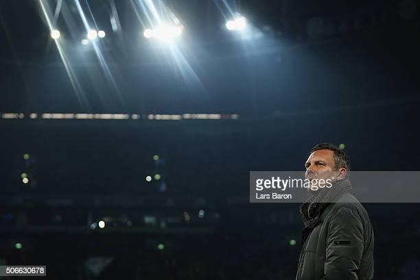 Head coach Andre Breitenreiter looks on during the Bundesliga match between FC Schalke 04 and Werder Bremen at VeltinsArena on January 24 2016 in...