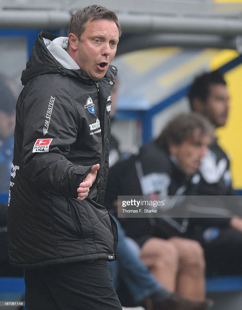 Head coach Andre Breitenreiter of Paderborn reacts during the Second Bundesliga match between SC Paderborn and SV Sandhausen at Benteler Arena on April 27, 2014 in Paderborn, Germany.