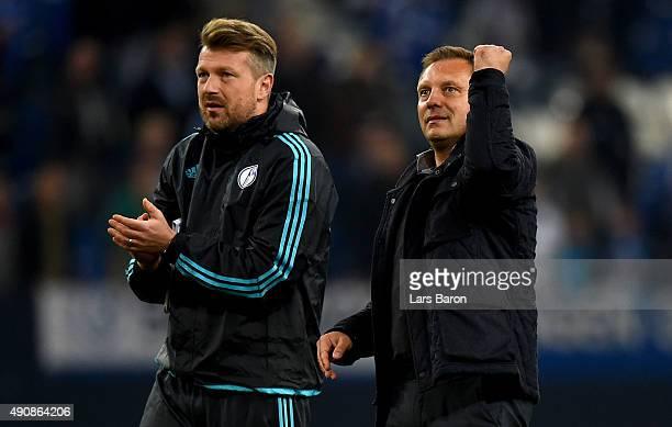 Head coach Andre Breitenreiter of Schalke celebrates after winning the UEFA Europa League Group K match between FC Schalke 04 and Asteras Tripolis FC...