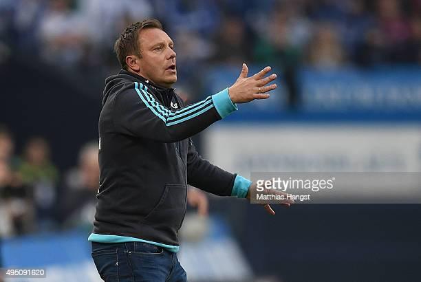 Head coach Andre Breitenreiter of Schalke gestures during the Bundesliga match between FC Schalke 04 and FC Ingolstadt at VeltinsArena on October 31...